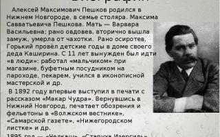 Краткая биография горького