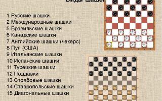Виды игры в шашки – 5 разновидностей